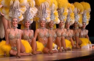 The third thing you'll notice about showgirls are their goofy hats. These are from the Jim Henson collection. Lifted from ballyslasvegas.com