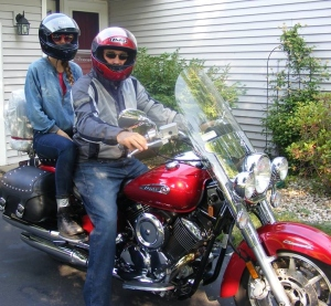 """Wild Hogs"" meets ""Back to School"" meets ""Dude, Where's My Car?""  Thing 1 and me riding out."
