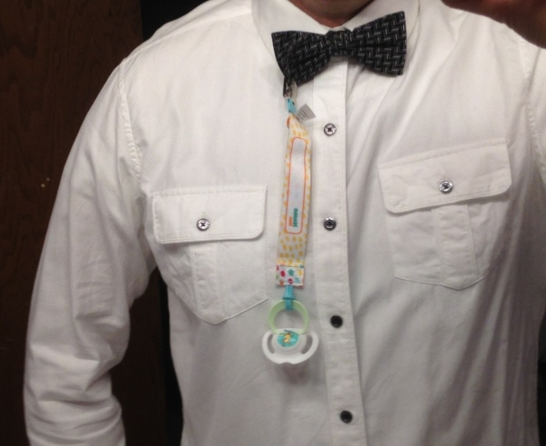 @hatethehate A #binkyclip on my bow tie! #imwithyou #sobrave #suckmynuk